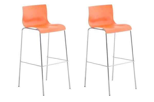 2er Set Barhocker Hoover Chrom 4-Fuß Gestell chrom orange