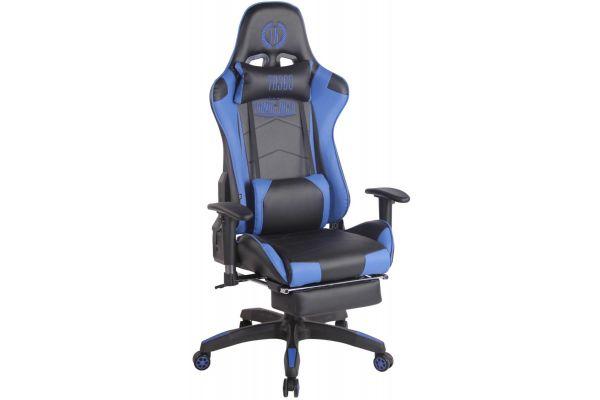 Racing Bürostuhl Turbo mit Fußablage schwarz/blau